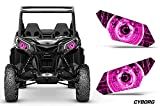 AMR Racing UTV Headlight Eye Graphics Decal Cover Compatible with Can-Am Maverick 1000 X3 Sport - Cyborg Pink