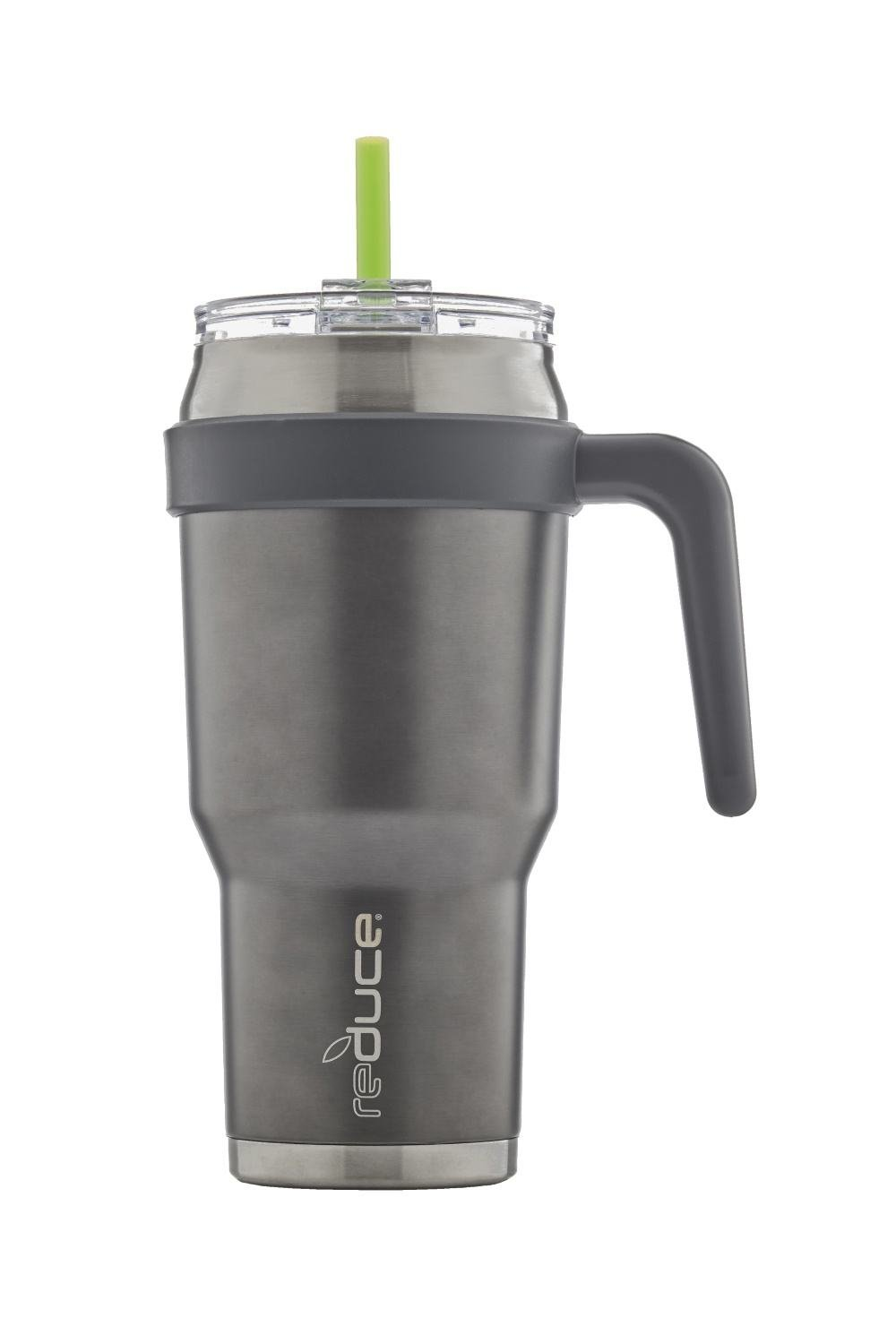reduce COLD-1 Extra Large Vacuum Insulated Thermal Mug with Slender Base, 3-in-1 Lid & Straw, Ergonomic Handle, 40oz - Tasteless and Odorless Gray