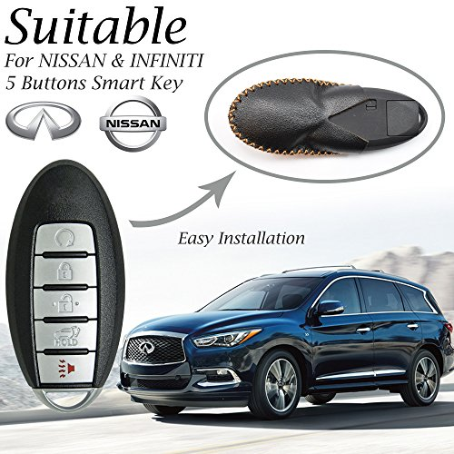 Vitodeco Leather Keyless Entry Remote Control Smart Key Case Cover with a Key Chain for Nissan & Infiniti (5 Buttons, Black/Red)