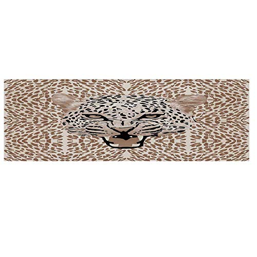 - Modern Microwave Oven Cover,Roaring Leopard Portrait with Rosettes Wild African Animal Big Cat Graphic Cover for Kitchen,36