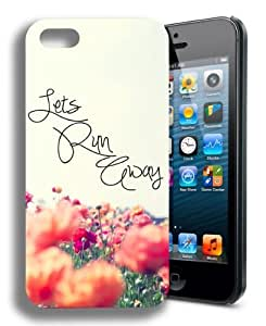 Lets Run Away Floral Cute Inspirational Quote Iphone 4 Case