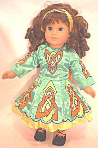 [Irish Dance Costume Complete Set in Green. Leather Ghillies and Dance Socks Included. Fits 18