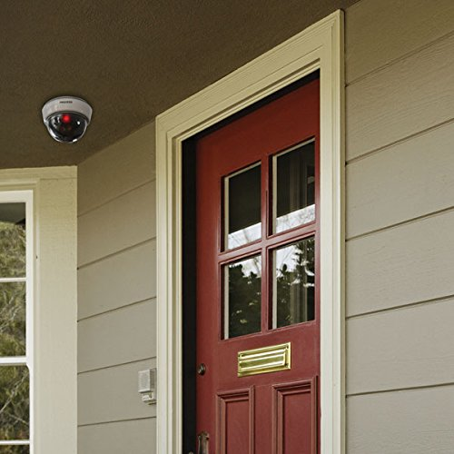 SABRE HS-FSCD Fake Camera for Security – Realistic Dome Style Design with Flashing Red LED Light for Outdoor or Indoor Use, No Wiring, Easy to Install – White