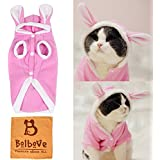 Bro'Bear Plush Rabbit Outfit with Hood & Bunny Ears for Small Dogs & Cats Pink (Small)