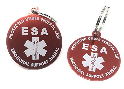 Theme Dog Tag (Emotional Support Animal (ESA) Two (2) Double Sided High Grade Lightweight Aluminum Tags)