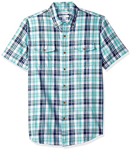 Amazon Essentials Men's Slim-Fit Short-Sleeve Two-Pocket Twill Shirt, Green/Blue Check, ()