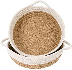 "Goodpick 2pack Cotton Rope Basket - Woven Storage Basket - 9.8"" x 8.7"" x 2.8"" Small Rope Baskets for Kids Home Decor Toy Basket Organizer - Desk Basket Containers for Jewellery, Keys - Hemp Rope Bowl"