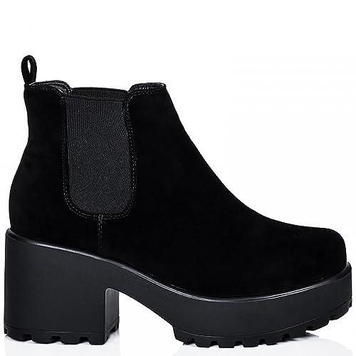 Las Mujeres Negro Gamuza Enlistonada Plataformas Botín Elástico De Chelsea UK6/EURO39/AUS7/USA8: Amazon.es: Zapatos y complementos