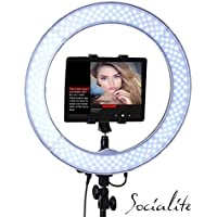 SOCIALITE 18 LED Live Video Ring Light Kit Incl Professional Studio Light, 6ft Stand, Remote, Heavy Duty Mounts iPad, tablets, DSLR Cameras, iPhone 6s Plus Smartphones, For Teleprompter, Photo Booth