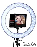 SOCIALITE 18'' LED Live Video Ring Light Kit Incl Professional Studio Light, 6ft Stand, Remote, Heavy Duty Mounts iPad, tablets, DSLR Cameras, iPhone 6s Plus Smartphones, For Teleprompter, Photo Booth