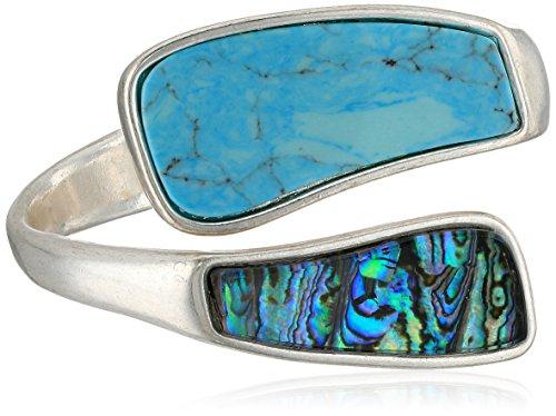 Abalone Cuff Bracelet - Robert Lee Morris Women's Bangle Cuff Bracelet, Turquoise/Abalone, One Size