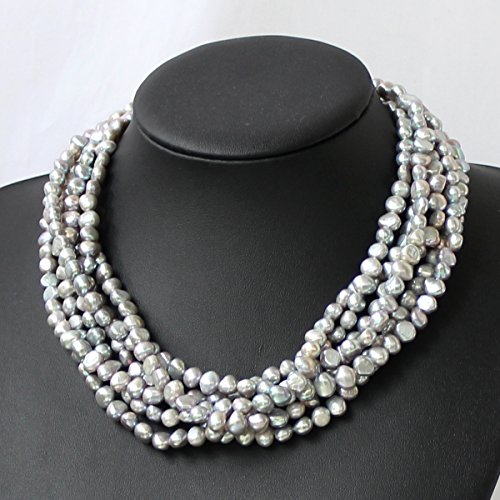 Necklace Freshwater Pearl Multi (Multi Strand Pearl Necklace With Grey Freshwater Pearl)