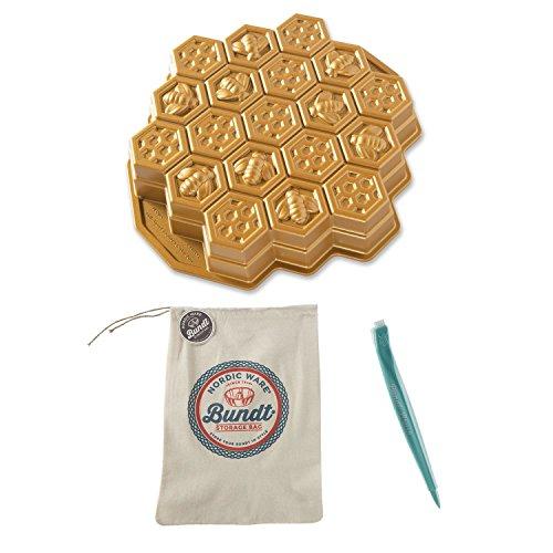 Nordic Ware Honeycomb Pull-Apart Cake Pan w/ Storage Bag & Cleaning Tool Set