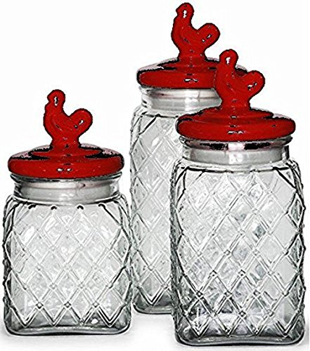 Palais Glassware Preserving Glass Canister Food Jar with Ceramic Lid Handle (Set of 3, Diamond Pattern with Red Rooster Lid)