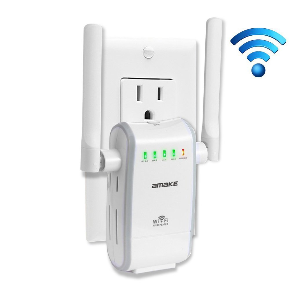 AMAKE WiFi Router Range Extender 300Mbps Wireless-N Repeater 2.4G Lan AP High Speed Signal Booster Access Point Amplifier Network Adapter Repeater/AP Modes Comply 802.11 b/g/n with WPS(US Plug)