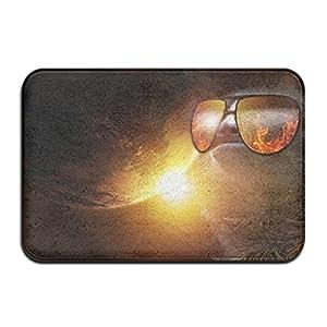 Kui Ju Non-Slip Doormat Entrance Rug Fade Resistant Floor Mats Sloth Sunglasses Space Shoes Scraper 23.6x15.7x0.39Inch