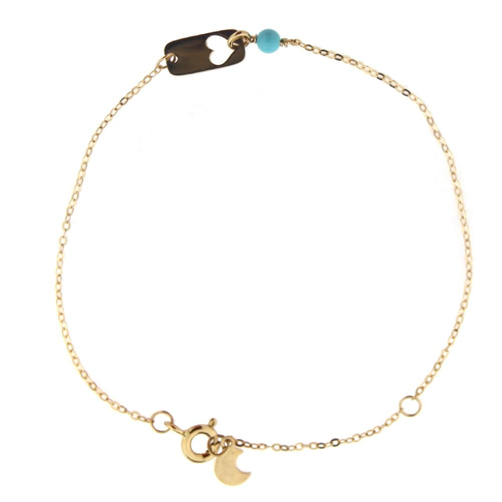 18K Yellow Gold Turquoise paste Bead open Heart Plaque Bracelet 6.5 inches with extra ring at 5.5 inch