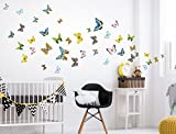 I-love-Wandtattoo WAS-10052 Wall stickers Kids Colored butterflies in watercolor style Sticker Wall Decal 40 piece