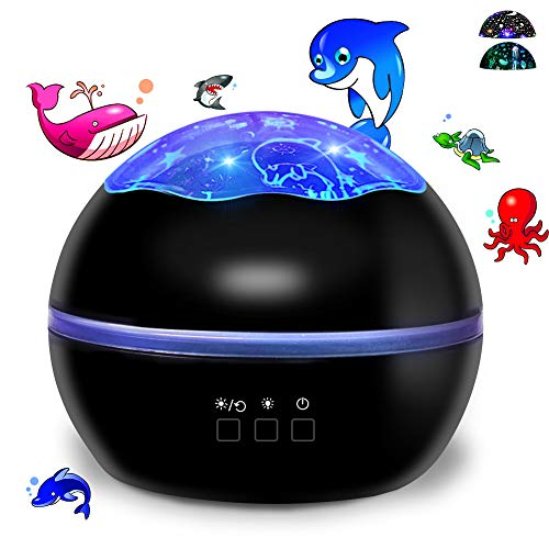 Ocean World/Star Moon 2-in-1 Multi-Function LED Projector Lamp, 360° Rotation Night Lights with 8 Colors Mode Black