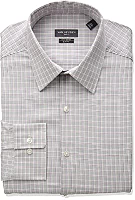 Van Heusen Men's Flex Slim Fit Plaid Point Collar Dress Shirt