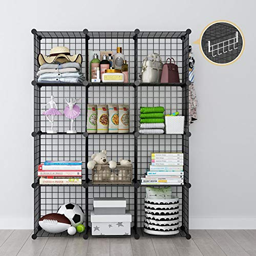 GEORGE&DANIS Wire Cube Storage Modular Shelving Unit Multi-use Metal Rack Portable Closet Organizer Wardrobe Book Shelf, Black, 14 inches Depth, 3x4 Tiers ()