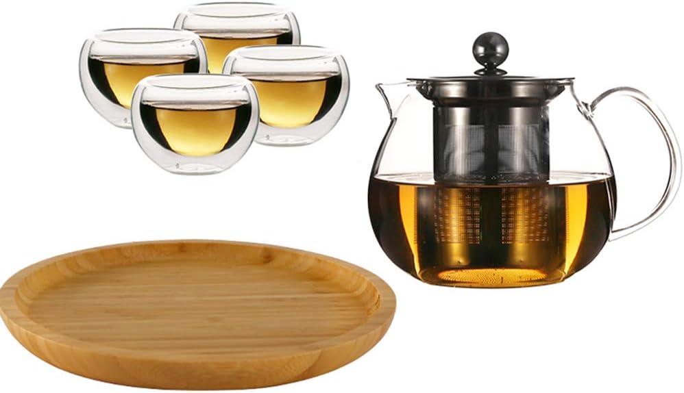 Juego de té de cristal doble resistente al calor, incluye tetera con infusor de acero inoxidable extraíble, bandeja y tazas para adultos en casa y oficina