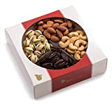 Nut Cravings Gourmet Nut Medium Holiday Gift Tray with Striking Presentation - 4-Section Holiday or Anytime Assorted Nuts Gift Baskets