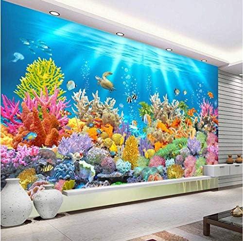 Lcymt 任意のサイズの壁紙のフレスコ画の写真をカスタマイズする水中世界水族館3Dステレオ熱帯魚テレビの背景壁紙C-400X280Cm