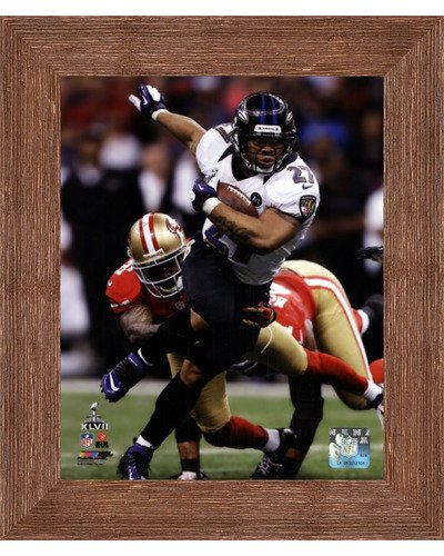 (Framed Ray Rice Super Bowl XLVII Action- 8x10 Inches - Art Print (Brown Barnwood Frame))