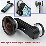 Fish Eye Lens+Super Wide Angle Lens+Macro Lens 3-in-1 Kit for Apple iPhone 5