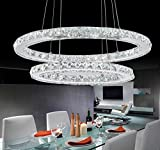 Dixun Modern Crystal Chandeliers Rings LED Ellipse Big Pendant Lighting With 2 Rings Max 48W Chrome Finish 30+50cm (White)