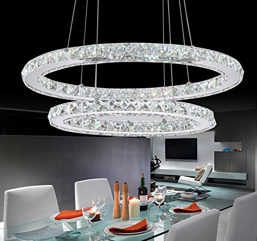 Dixun Modern Crystal Chandeliers Rings LED Ellipse Big Pendant Lighting With 2 Rings Max 48W Chrome Finish 30+50cm (White) by Dixun