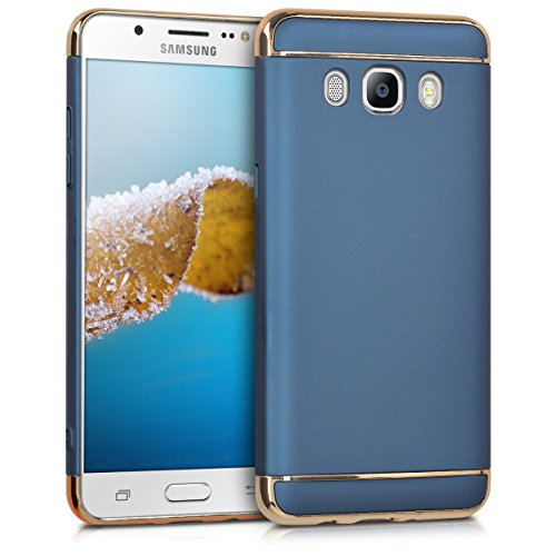 kwmobile Case for Samsung Galaxy J5 (2016) DUOS - Shockproof Protective Hard Case Back Cover with Chrome Frame - Dark Blue/Gold
