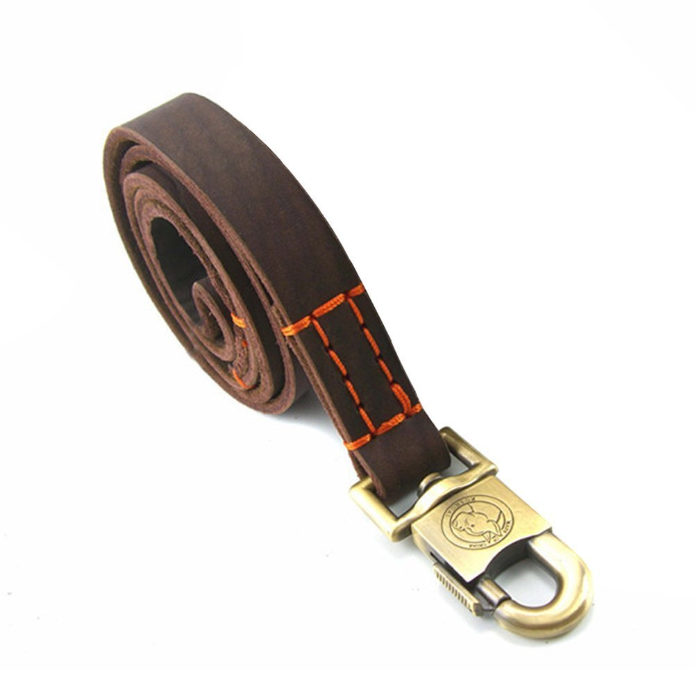 3 FT Rantow Super Strong Leather Pet Trainning Leads for Medium Dogs or Large Dogs 1 Inch Wide and 3ft, 4ft and 5ft Long Handmade Brown Leather Dog Leash (3 FT)