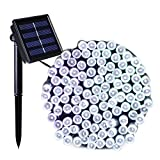Dcoo Solar Christmas Lights 72ft 22m 200 LED 8 Modes Fairy String Lights for Outdoor, Gardens, Homes, Wedding, Christmas Party, Waterproof (White)