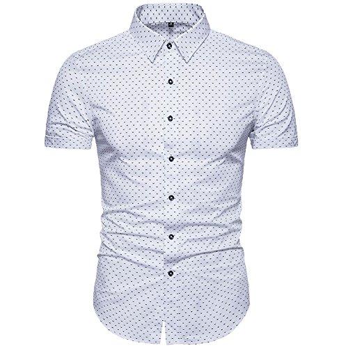 MUSE FATH Men's Printed Dress Shirt-Cotton Casual Short Sleeve Shirt,Button-Down Wedding Dress Shirt-White-M