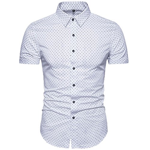 MUSE FATH Men's Printed Dress Shirt-Cotton Casual Short Sleeve Shirt,Button-Down Wedding Dress Shirt-White ()