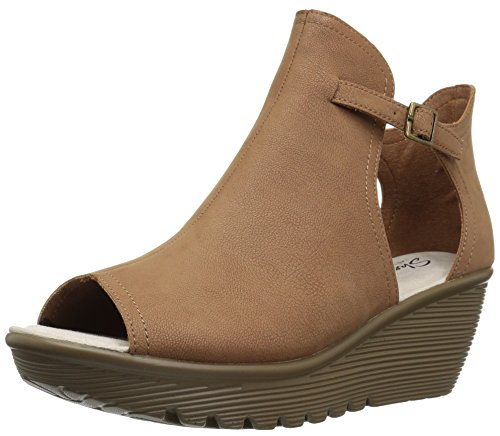 Women's Wedge Cookie Toe Tan Peep Parallel Cutter Qtr Sandal Cut Skechers dqE8wFd