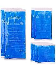 Relaxdays Kyldynor gel i set om 8, första hjälpen återanvändbara, 3 storlekar, kall-varm flera komprimeringar sport, blå
