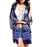 Vbiger Womens Beach Cover Up Bikini Swimsuit Cover-ups Floral Beachwear Kimono Cardigan (Blue)