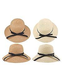 d5b0067d YHBAO Floppy Beach Hat for Women Large Brim Straw Sun Hats Roll up Packable  UPF 50