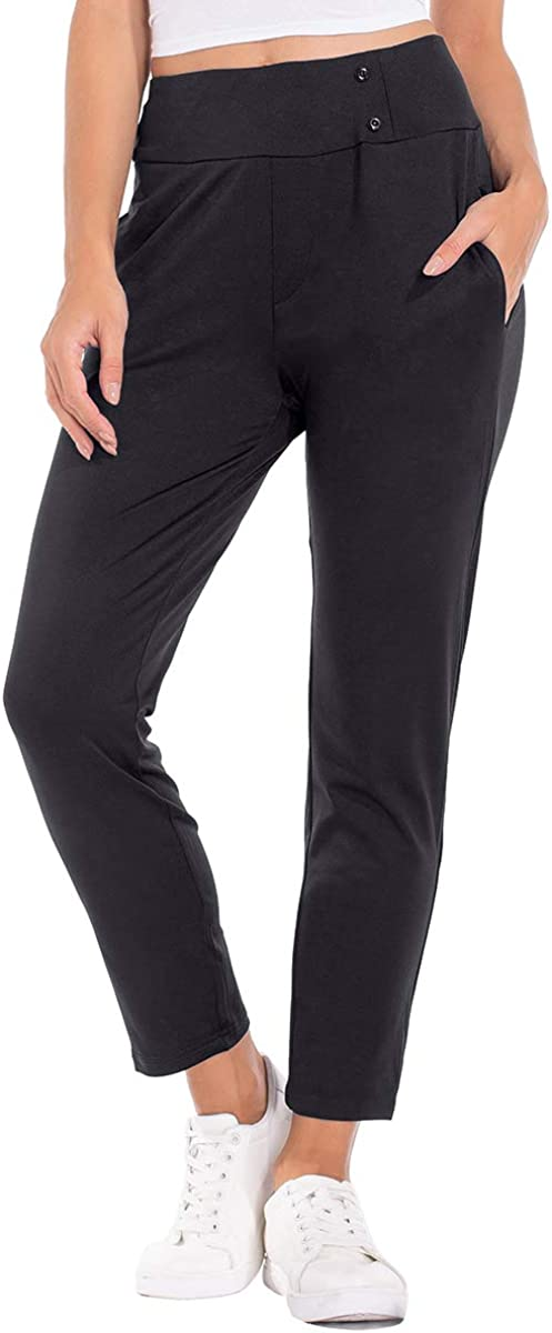 Brovollous Women Pull-On Stretch Trousers Ladies Slim Comfort Fit Smart Workwear Office Yoga Fitness Workout Leggings with Pockets