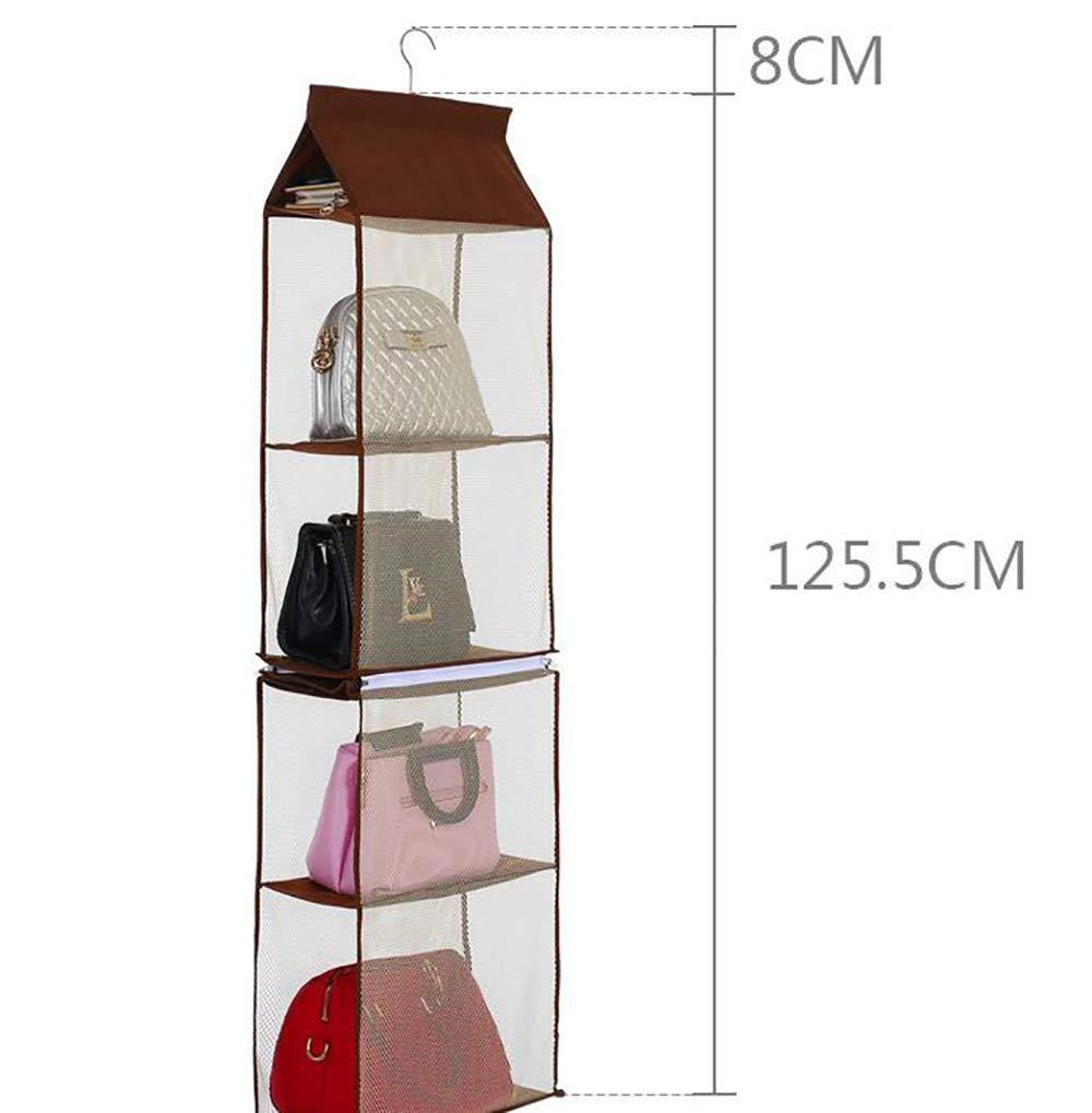 ixaer Detachable Hanging Handbag Organizer Purse Bag Collection Storage Holder Wardrobe Closet Hatstand 4 Compartment (Brown)