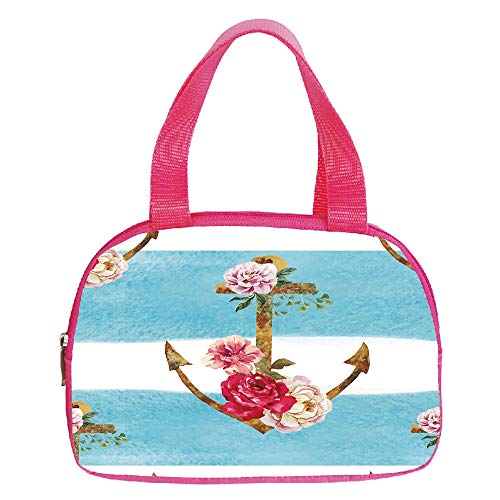 - Multiple Picture Printing Small Handbag Pink,Floral,Ornamental Swirled Flower Lines Abstract Victorian Retro Curves Rococo Print,Light Blue White,for Girls,Comfortable Design.6.3