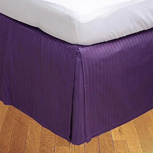 LaxLinens 600 fils cm²-Finition élégante 1 jupe plissée chute de lit Longueur    15 UK ROI cm, MAUVE 100%  coton