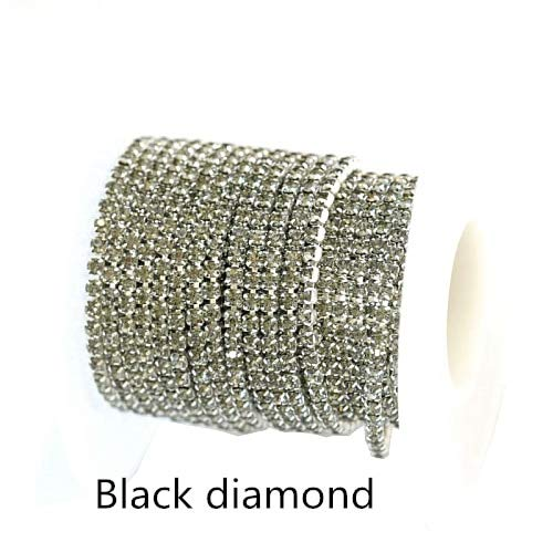 5Yards/roll 2mm SS6 Applique Clear Crystal Rhinestone Silver Chain Sew On Rhinestone- Clear Crystal Rhinestones- Crystal Rhinestone Chain for Crafts Full Color (Black Diamond)