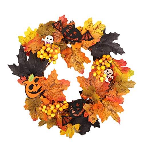 Hot Sale!UMFun Rattan Berry Maple Leaf Fall Door Wreath Door Wall Ornament Halloween Rattan Wreath 35cm -