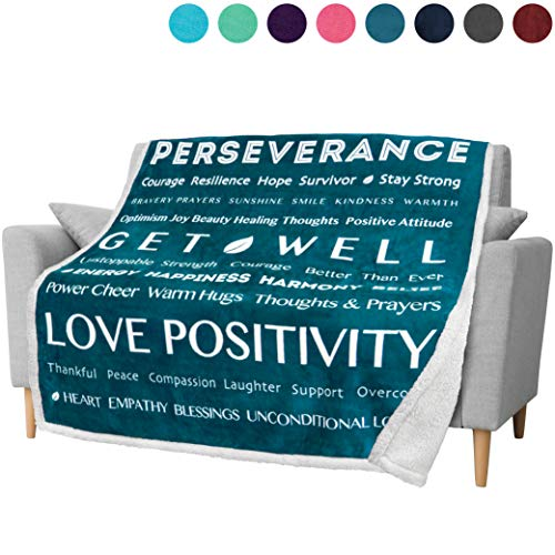PAVILIA Healing Thoughts Blanket, Sherpa Fleece Throw for Women | Soft Warm Hugs Inspirational Gift Positive Energy Prayer Blanket | Get Well Soon Gift Blanket for Cancer Patients | 50 x 60 in (Teal)
