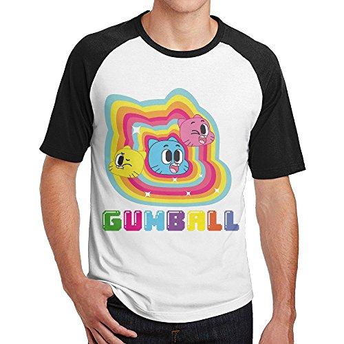 Geneva F Men's The Amazing World Of Gumball Short Sleeve Raglan Baseball Tshirt Black Small -