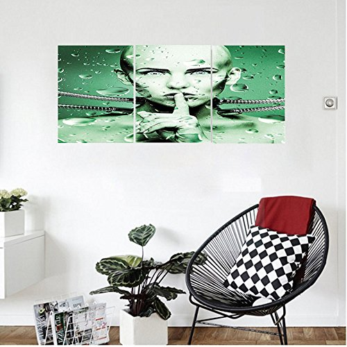 Liguo88 Custom canvas Futuristic Decor Robot Girl with Metal Cables In a Glass Underwater Wall Hanging for Bedroom Living Room Hunter Green and Pistachio - Ford Tim Glasses